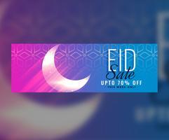 design de cabeçalho de bandeira islâmica eid venda com lua brilhante