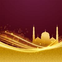 Golden Premium Eid och Ramadan Festival Design med ljus effekt