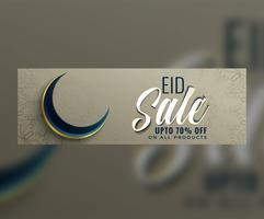 bannière de vente eid musulman avec lune
