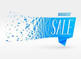 blauwe origami verkoop banner met deeltjes effect