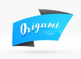 blue origami banner template vector