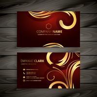 premium lyxigt rött visitkort med gyllene dekoration