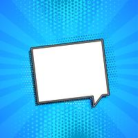 comic chat bubble on blue background with copyspace