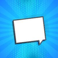 Burbuja cómica de chat sobre fondo azul con copyspace