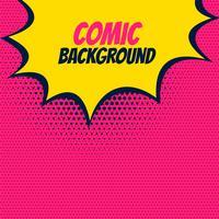 Fondo rosa cómico pop con burbuja ráfaga amarilla