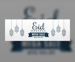 Banner de venta de eid blanco con linternas colgantes.