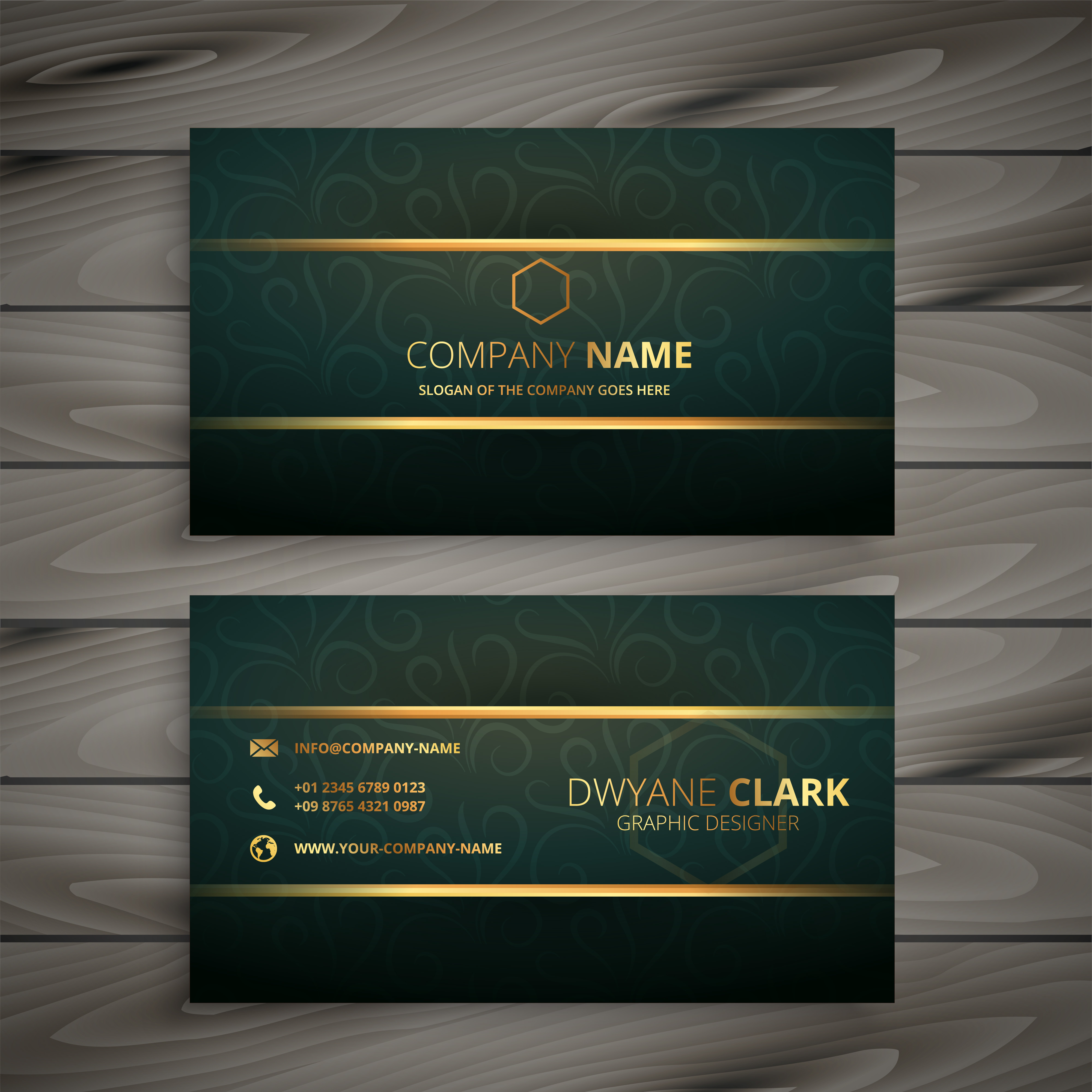 premium golden green vintage style business card - Download Free ...