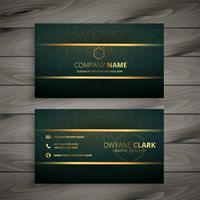 premium golden green vintage style business card