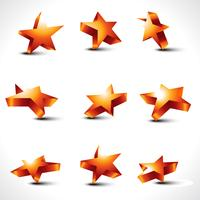 vector set of nine differernt stars
