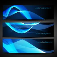 vector blauwe abstracte banner set 1
