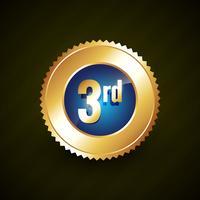 tercer número vector de oro insignia diseño