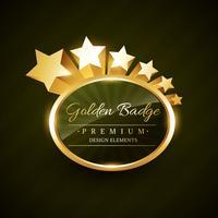 diseño de la insignia de oro vector con estrellas