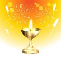 lámpara de oro diwali