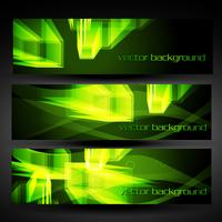 vector green abstract banner set 4
