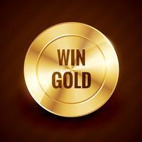 ganar etiqueta oro hermoso diseño vectorial