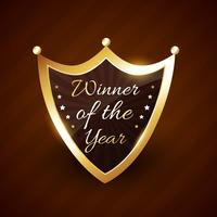 Winnaar van het jaar vector gouden labelontwerp
