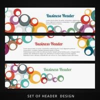 set of headers with colorful circles flowing inside