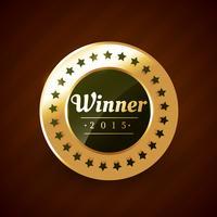 vincitore del disegno vettoriale etichetta d'oro anno 2015