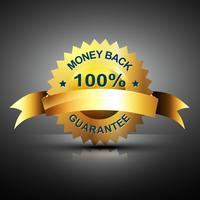 Icono de garantía de devolución de dinero en color dorado.