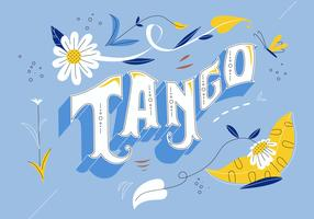 Argentina Tango Typografi Fileteado Vector Flat