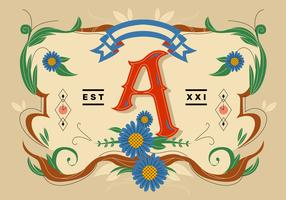 Letter A Typography Fileteado Vector Flat