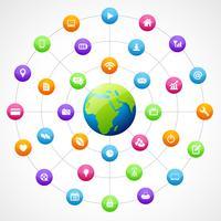 forma de terra com mídias sociais vetor