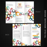colorful tri-fold brochure design with flowing circles vector