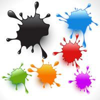 colorful paint splashes set