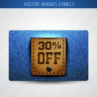 offer label of leather and jeans vector