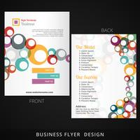 flyer template design with colorful multiple circles flowing ins vector