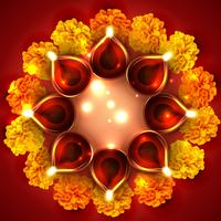 Background of diwali diya vector