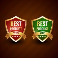 meilleur produit 2015 du vecteur de conception d'étiquette d'or de l'année