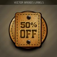 leather discount label vector