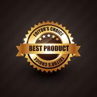 Aufkleber-Ausweisvektordesign des besten Produkts golden