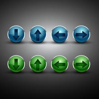 bouton de flèche de vecteur en deux couleurs