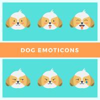 Flat Dog Emoticons Vector Collection