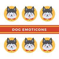 Raccolta di vettore di emoticon di cane piatto