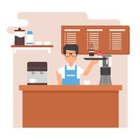 Young Man Barista Vector Illustration