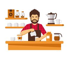 Cool Barba Barista Vector