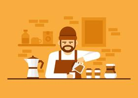 Cool Barista Vector  Illustration