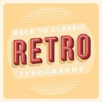 Tipografía retro plana con ilustración de Vector de fondo Vintage