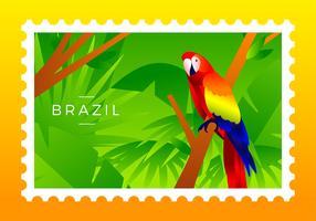 Brasil, sello, escarlata, guacamayo, pájaro, vector