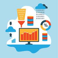 Data Mining Flat Illustration