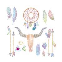 Cute Watercolor Boho Elements collection Set