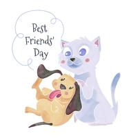 Cute Cat And Dog Playing Around To Friendship Day