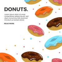 Donuts cayendo colorido plano con ilustración de Vector de fondo blanco