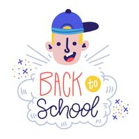 Funny Character Boy Smiling With Hat Ans Hand Lettering About School