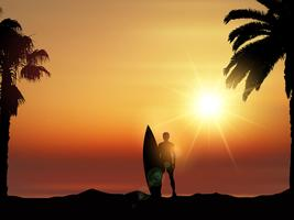Surfer in tropical landscape