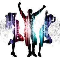 People dancing on music notes background