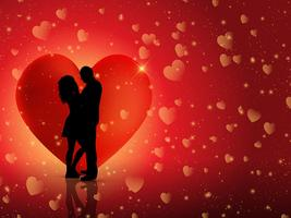 Couple on hearts background